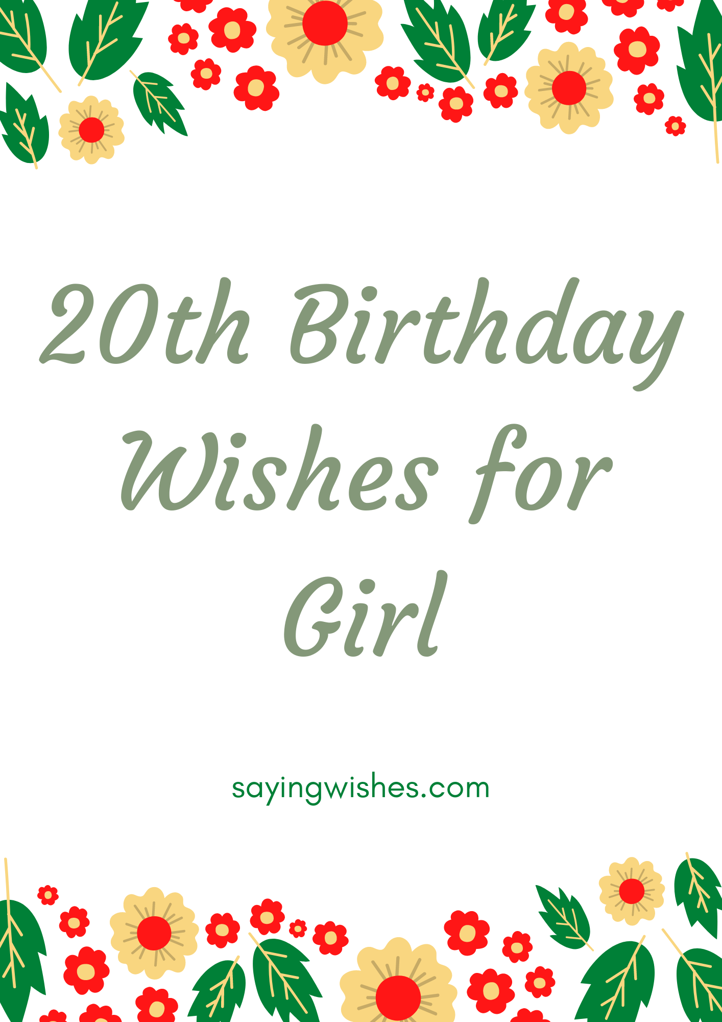20th birthday wishes for girl